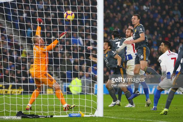 Glenn Murray of Brighton and Hove Albion scores his team's first goal during the Premier League match between Brighton Hove Albion and Leicester City...