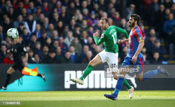 Glenn Murray of Brighton and Hove Albion scores his team's first goal during the Premier League match between Crystal Palace and Brighton & Hove...