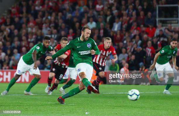 Glenn Murray of Brighton and Hove Albion scores his team's second goal from a penalty during the Premier League match between Southampton and...