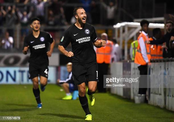 Glenn Murray of Brighton and Hove Albion scores his team's second goal during the Carabao Cup Second Round match between Bristol Rovers and Brighton...