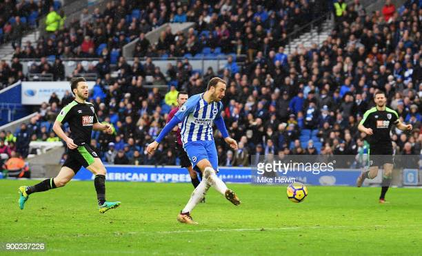 Glenn Murray of Brighton and Hove Albion scores his team's second goal during the Premier League match between Brighton and Hove Albion and AFC...