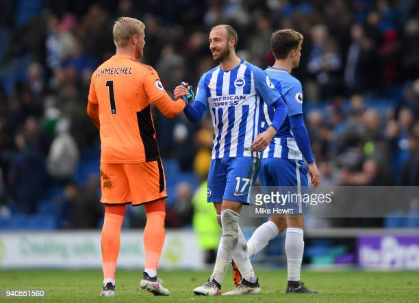 Glenn Murray of Brighton and Hove Albion speaks with Kasper Schmeichel of Leicester City after the Premier League match between Brighton and Hove...