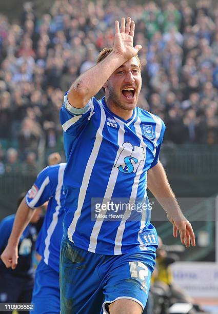 Glenn Murray of Brighton celebrates after scoring during the npower League One match between Brighton Hove Albion and Swindon Town at the Withdean...
