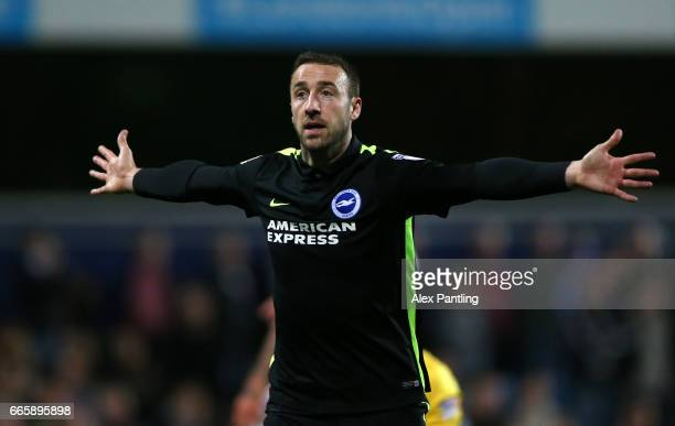 Glenn Murray of Brighton celebrates after scoring his sides first goal during the Sky Bet Championship match between Queens Park Rangers and Brighton...
