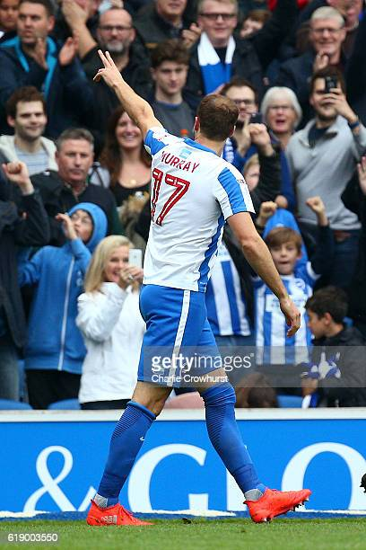 Glenn Murray of Brighton celebrates after scoring the first goal of the game during the Sky Bet Championship match between Brighton Hove Albion and...