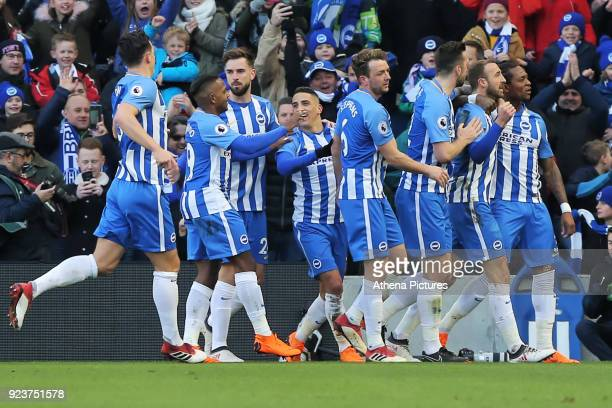 Glenn Murray of Brighton celebrates his opening goal with team mates during the Premier League match between Brighton and Hove Albion and Swansea...