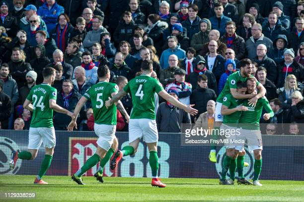 Glenn Murray of Brighton Hove Albion celebrate with he's team mates after scoring goal during the Premier League match between Crystal Palace and...