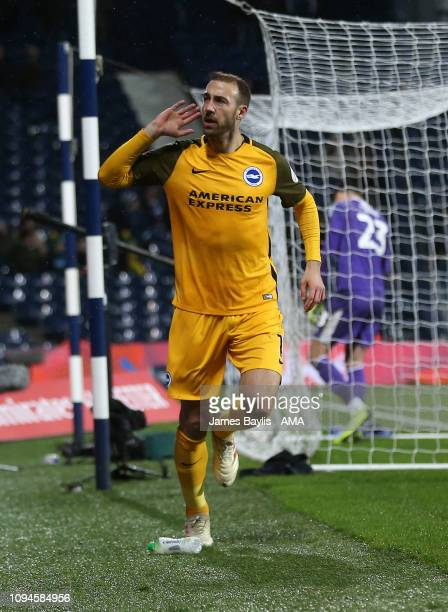 Glenn Murray of Brighton Hove Albion celebrates after scoring a goal to make it 12 during the FA Cup Fourth Round Replay match between West Bromwich...