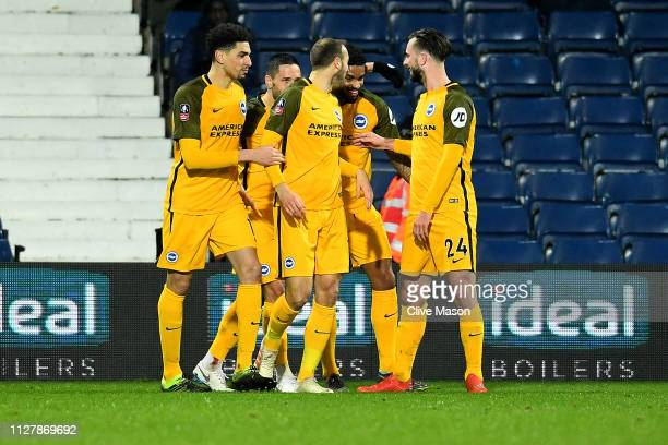 Glenn Murray of Brighton Hove Albion celebrates his goal during the FA Cup Fourth Round Replay match between West Bromwich Albion and Brighton Hove...