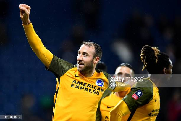 Glenn Murray of Brighton & Hove Albion celebrates his second goal during the FA Cup Fourth Round Replay match between West Bromwich Albion and...
