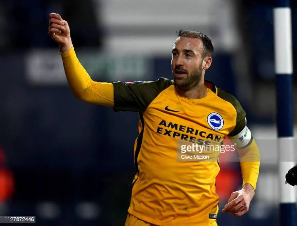 Glenn Murray of Brighton Hove Albion celebrates his second goal during the FA Cup Fourth Round Replay match between West Bromwich Albion and Brighton...