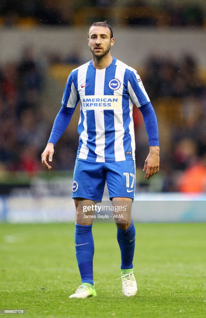 Glenn Murray of Brighton & Hove Albion during the Sky Bet Championship match between Wolverhampton Wanderers and Brighton & Hove Albion at Molineux on April 15, 2017 in Wolverhampton, England.