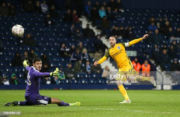 Glenn Murray of Brighton Hove Albion scores a goal to make it 13 during the FA Cup Fourth Round Replay match between West Bromwich Albion and...