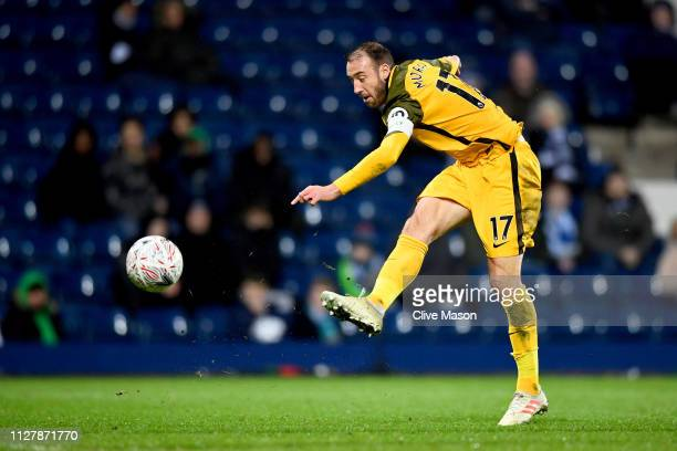 Glenn Murray of Brighton Hove Albion scores his second goal during the FA Cup Fourth Round Replay match between West Bromwich Albion and Brighton...