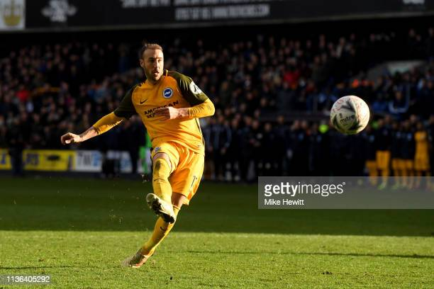 Glenn Murray of Brighton Hove Albion takes and misses his penalty during the penalty shoot out during the FA Cup Quarter Final match between Millwall...