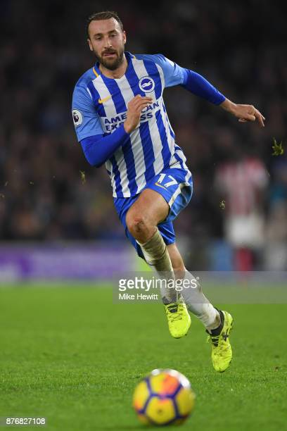 Glenn Murray of Brighton in action during the Premier League match between Brighton and Hove Albion and Stoke City at Amex Stadium on November 20...