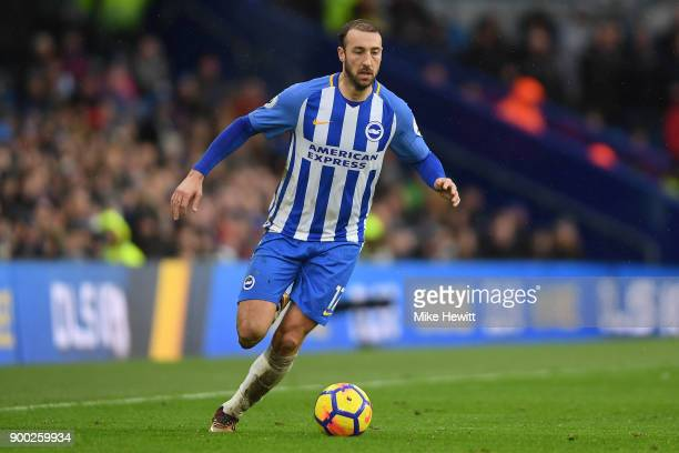 Glenn Murray of Brighton in action during the Premier League match between Brighton and Hove Albion and AFC Bournemouth at Amex Stadium on January 1...