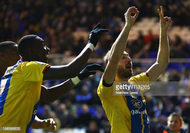 Glenn Murray of Crystal Palace celebrates his second goal during the npower Championship match between Birmingham City and Crystal Palace at St...