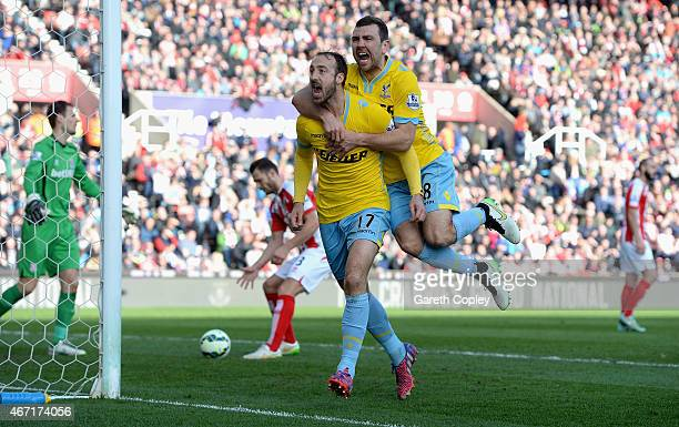 Glenn Murray of Crystal Palace celebrates scoring their first goal from the penalty spot with James McArthur of Crystal Palace during the Barclays...