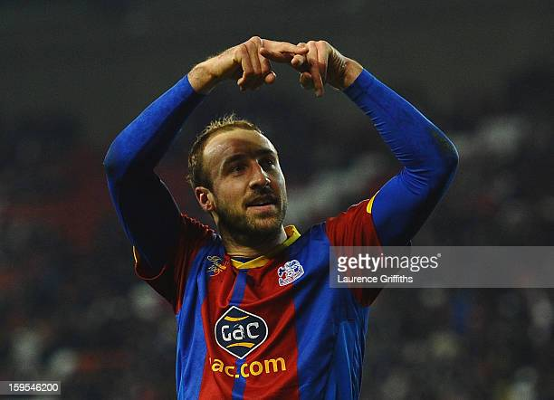 Glenn Murray of Crystal Palace celebrates the equalising goal during the FA Cup with Budweiser Third Round replay match between Stoke City and...