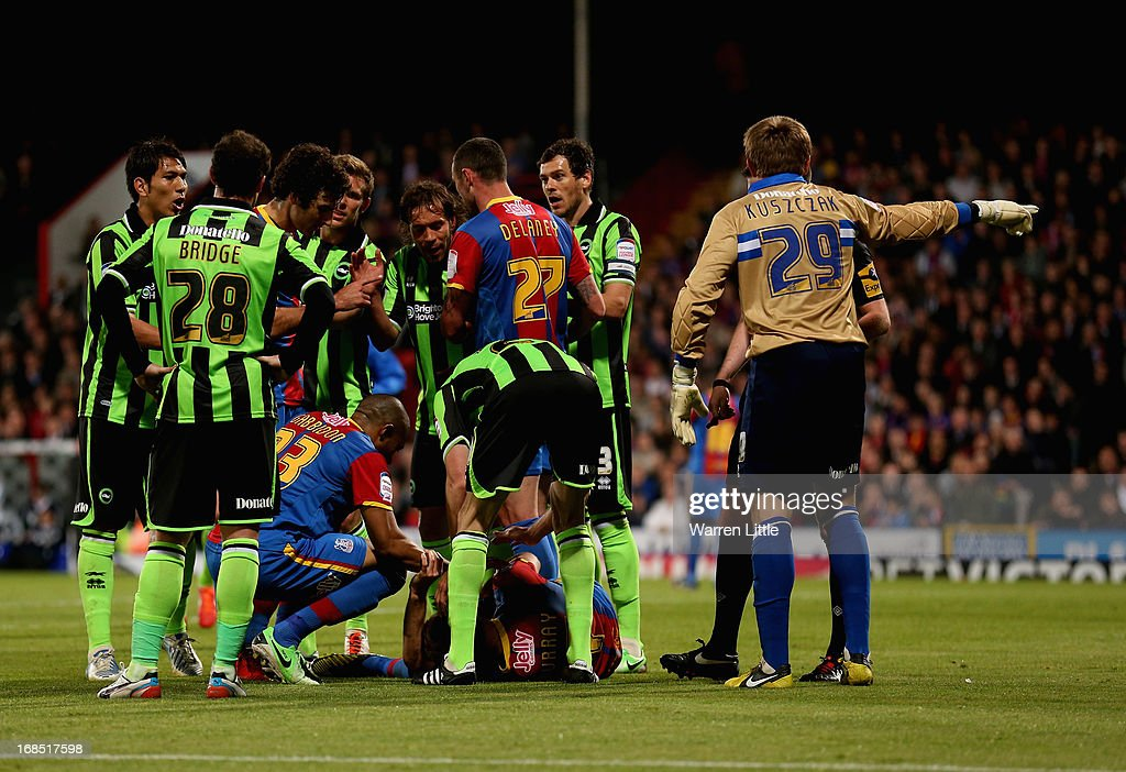 Glenn Murray of Crystal Palace is injured and stretchered off the pitch during the npower Championship play off semi final first leg at Selhurst Park on May 10, 2013 in London, England.