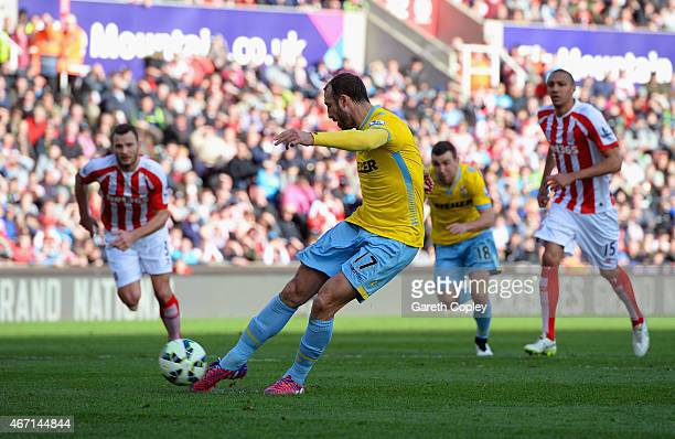 Glenn Murray of Crystal Palace scores their first goal from the penalty spot during the Barclays Premier League match between Stoke City and Crystal...