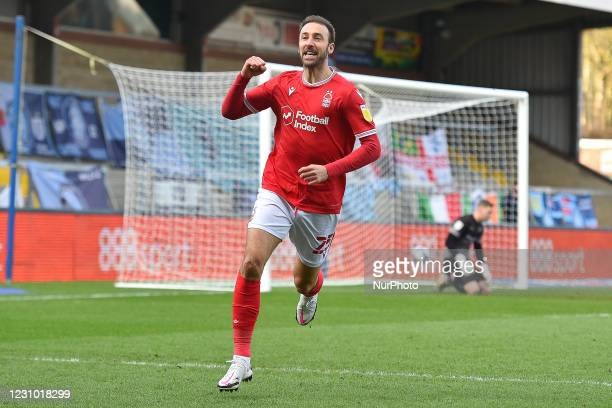 Glenn Murray of Nottingham Forest celebrates after scoring a goal to make it 0-1 during the Sky Bet Championship match between Wycombe Wanderers and...