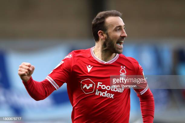 Glenn Murray of Nottingham Forest celebrates after scoring their side's first goal during the Sky Bet Championship match between Wycombe Wanderers...