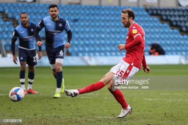 Glenn Murray of Nottingham Forest scores a goal to make it 0-2 during the Sky Bet Championship match between Wycombe Wanderers and Nottingham Forest...