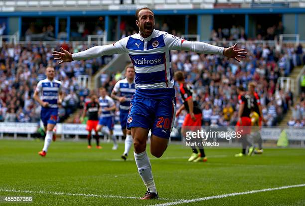 Glenn Murray of Reading celebrates scoring his and Reading's second goal during the Sky Bet Championship match between Reading and Fulham at Madejski...