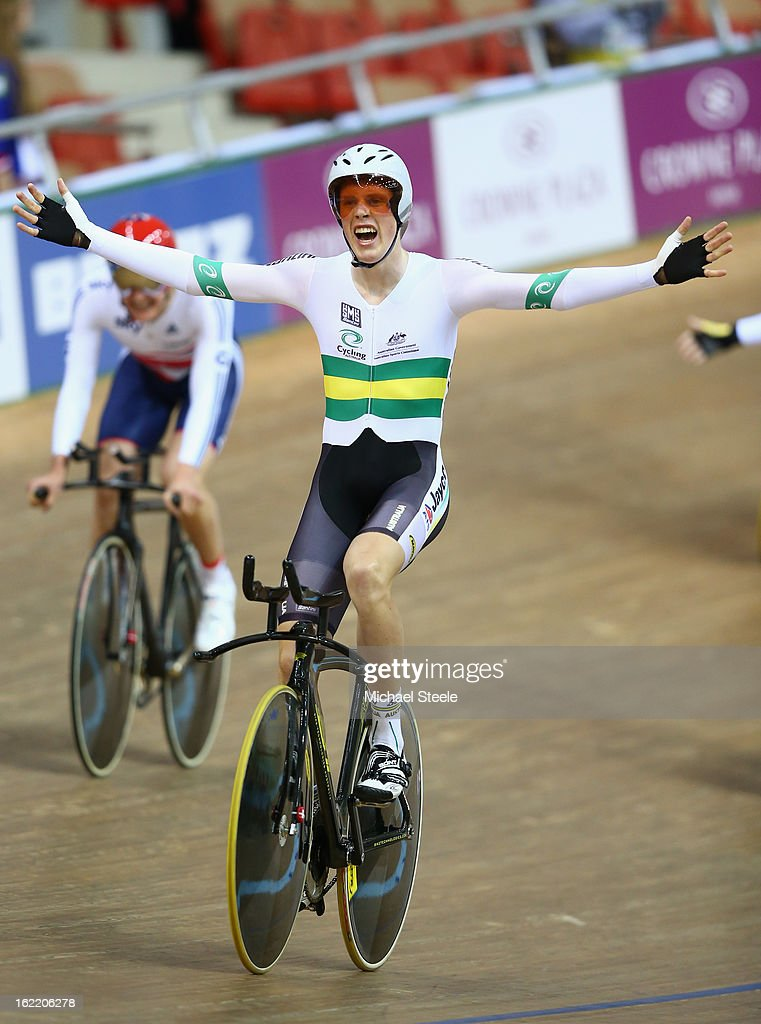Glenn O'Shea of Australia celebrates the men's team pursuit gold victory over Great Britain during day one of the UCI Track World Championships at Minsk Arena on February 20, 2013 in Minsk, Belarus.