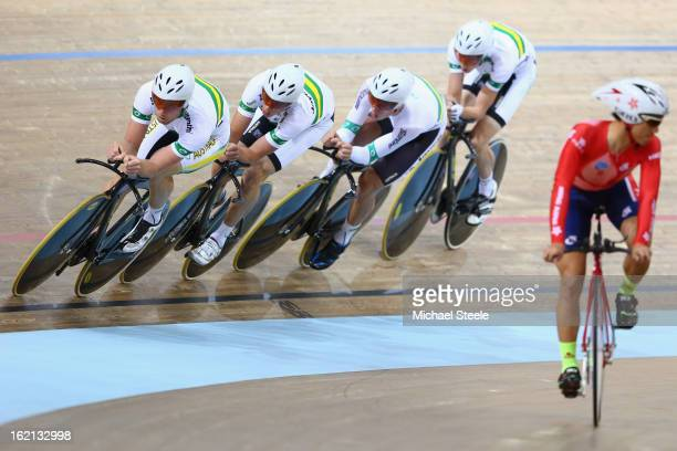 Glenn O'Shea of the Australia men's team pursuit leads out during practise ahead of the UCI Track World Championships at Minsk Arena on February 19...