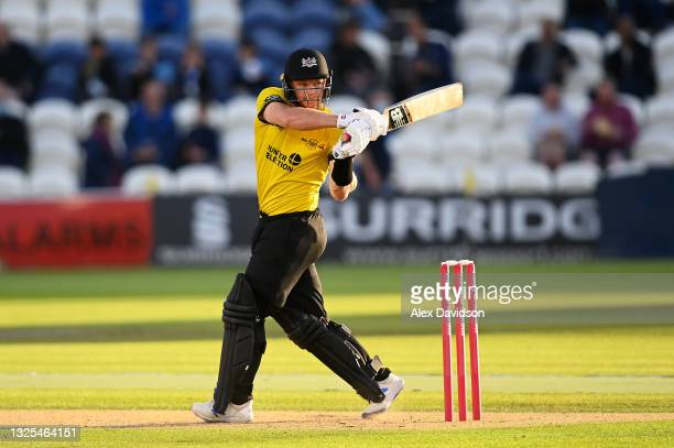 Glenn Phillips of Gloucestershire bats during the Vitality T20 Blast match between Sussex Sharks and Gloucestershire at The 1st Central County Ground...