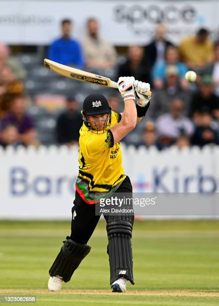 Glenn Phillips of Gloucestershire hits runs during the Vitality T20 Blast match between Gloucestershire and Sussex Sharks at Bristol County Ground on...