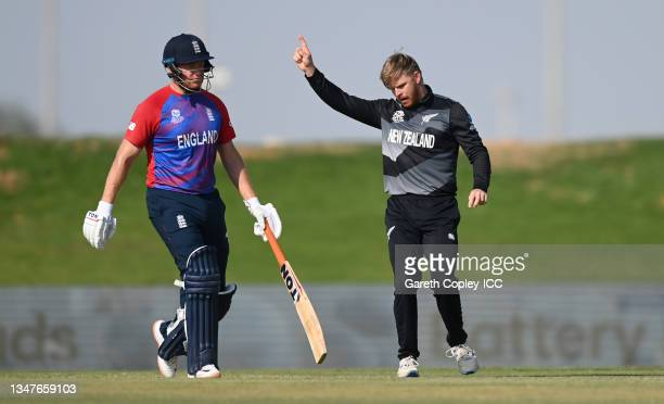 Glenn Phillips of New Zealand celebrates dismissing Liam Livingstone of England during the England and New Zealand warm Up Match prior to the ICC...