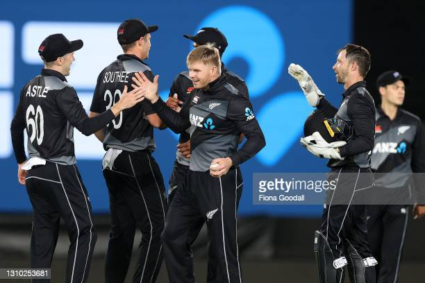 Glenn Phillips of New Zealand celebrates during game three of the International T20 series between New Zealand and Bangladesh at Eden Park on April...
