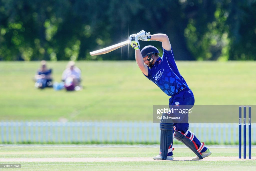 Glenn Phillips of the Auckland Aces bats during the One Day Ford Trophy Cup match between Canterbury and Auckland on February 7, 2018 in Christchurch, New Zealand.