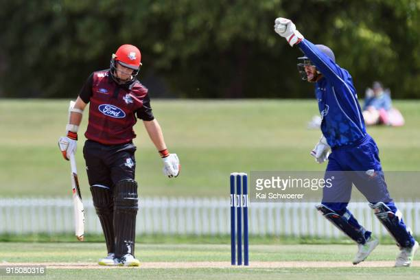 Glenn Phillips of the Auckland Aces celebrates after taking a catch to dismiss Tom Latham of Canterbury during the One Day Ford Trophy Cup match...