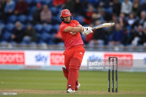 Glenn Phillips of Welsh Fire hits a boundary during The Hundred match between Welsh Fire Men and Trent Rockets Men at Sophia Gardens on August 06,...