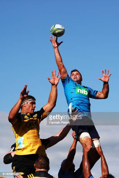 Glenn Preston of the Blues wins lineout ball during the Super Rugby trial match between the Blues and the Hurricanes at Mahurangi Rugby Club on...