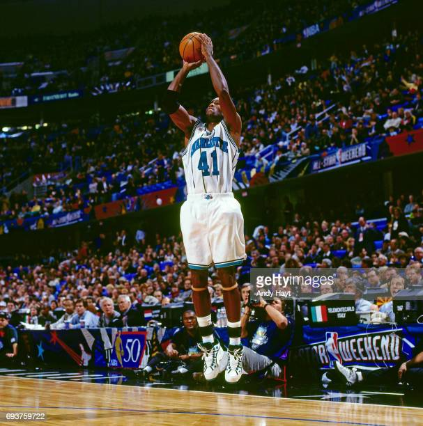 Glenn Rice of the Charlotte Hornets shoots the ball during the game during the 1997 NBA AllStar Game played on February 9 1997 at Gund Arena in...