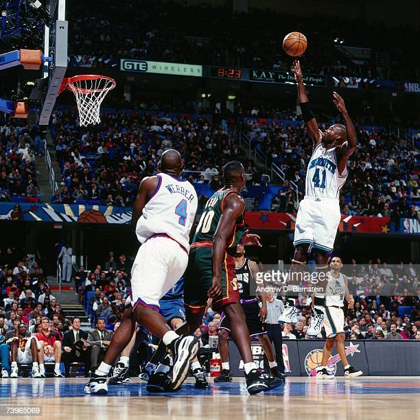 Glenn Rice of the Eastern Conference shoots against Shawn Kemp of the Western Conference during the 1997 AllStar Game on February 9 1997 at Gund...
