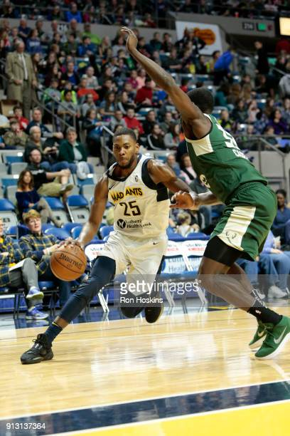 Glenn Robinson III of the Fort Wayne Mad Ants pushes the ball up court against the Wisconsin Herd on February 1 2018 at Memorial Coliseum in Fort...