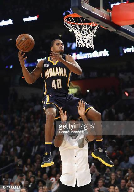 Glenn Robinson III of the Indiana Pacers competes in the 2017 Verizon Slam Dunk Contest with Paul George of the Indiana Pacers at Smoothie King...