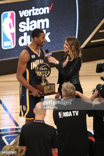 Glenn Robinson III of the Indiana Pacers gets interviewed by Kristen Ledlow after winning the Verizon Slam Dunk Contest during State Farm AllStar...