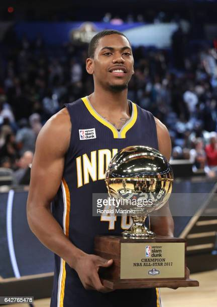 Glenn Robinson III of the Indiana Pacers poses with the Verizon Slam Dunk Champion trophy after winning the 2017 Verizon Slam Dunk Contest at...