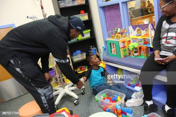 Glenn Robinson III of the Indiana Pacers visit Peyton Manning Childrens Hospital at St Vincent as part of Pacers Cares and the NBA Cares Season of...