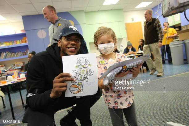 Glenn Robinson III of the Indiana Pacers visits Peyton Manning Childrens Hospital at St Vincent as part of Pacers Cares and the NBA Cares Season of...