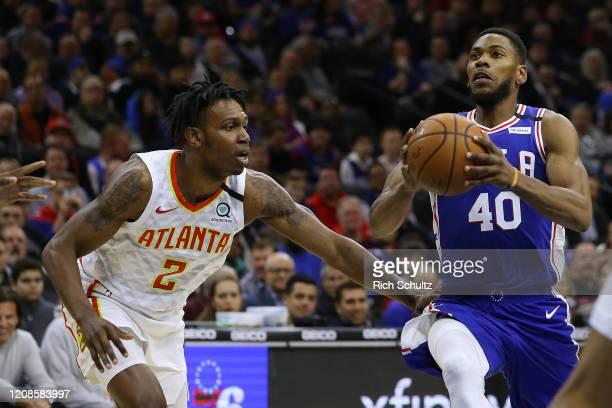 Glenn Robinson III of the Philadelphia 76ers in action against Treveon Graham of the Atlanta Hawks during an NBA basketball game at Wells Fargo...