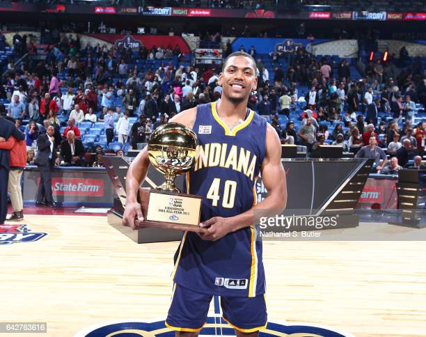 Glenn Robinson Jr #40 of the Indiana Pacers wins during the Verizon Slam Dunk Contest during State Farm AllStar Saturday Night as part of the 2017...